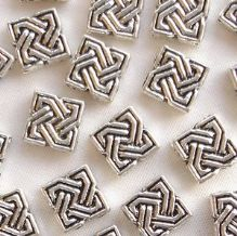 "Silver Plated ""Pewter"" Beads 9 x 9mm Celtic Diamond - 20"